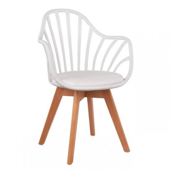 Кресло Беки бял полипропилен