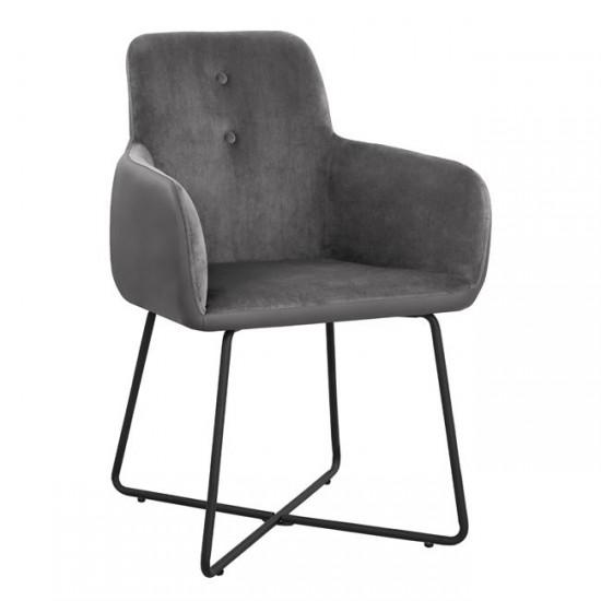 Кресло Абигейл 2 сиво кадифе
