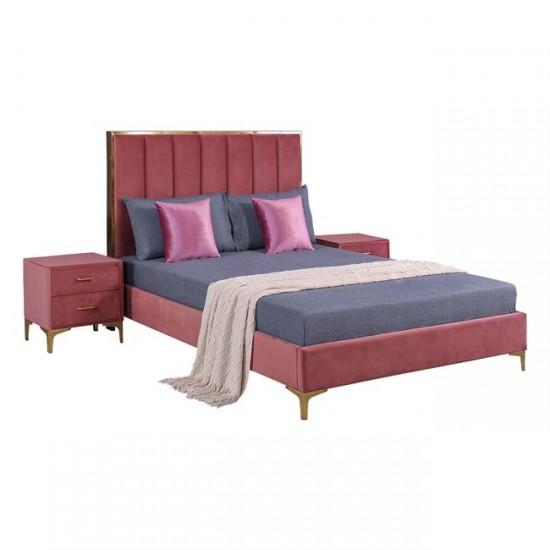Комплект спалня с две нощни шкафчета Райли пепел от рози
