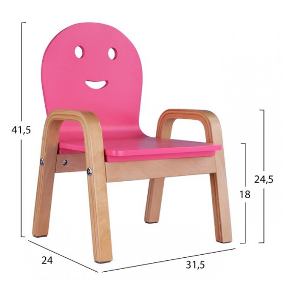 Детски стол Смайл розов