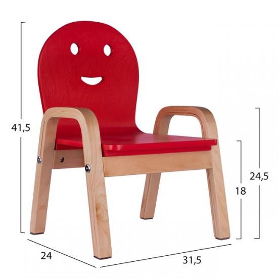 Детски стол Смайл червен