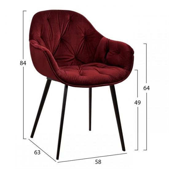 Кресло Бетъни кадифе бордо