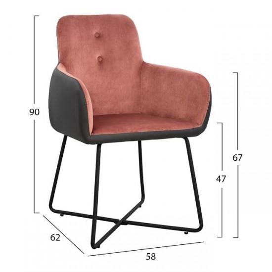 Кресло Абигейл 2 розово кадифе