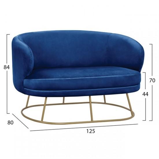 Двуместен диван Ариен синьо кадифе