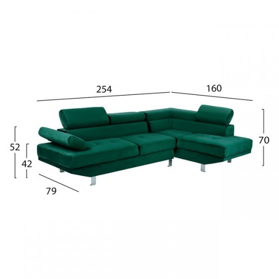 Десен ъглов диван Фейт зелен